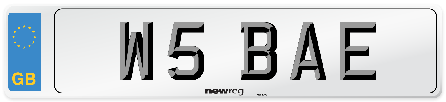 W5 BAE Number Plate from New Reg