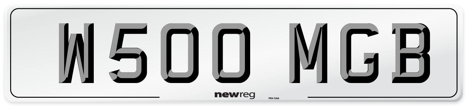 W500 MGB Number Plate from New Reg