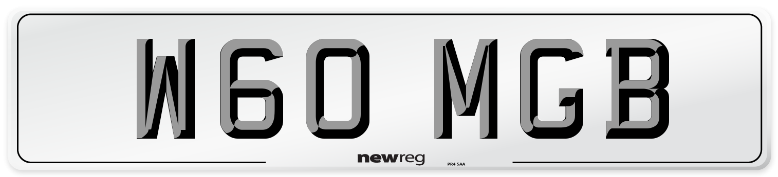 W60 MGB Number Plate from New Reg
