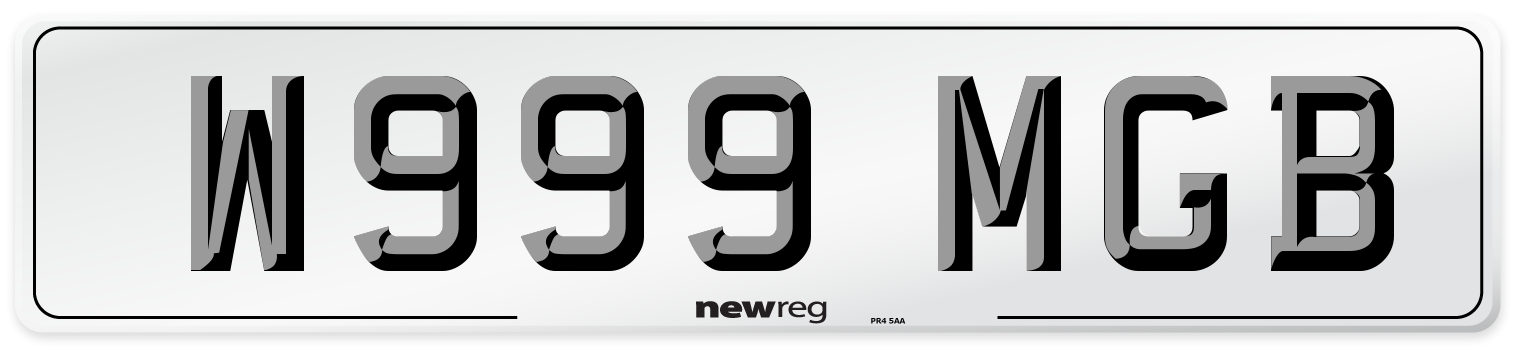 W999 MGB Number Plate from New Reg