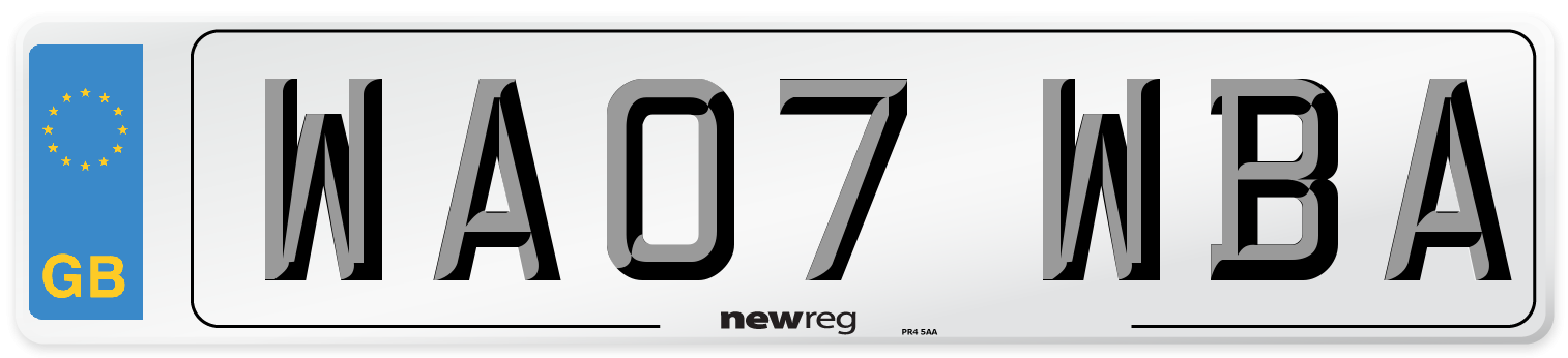 WA07 WBA Number Plate from New Reg