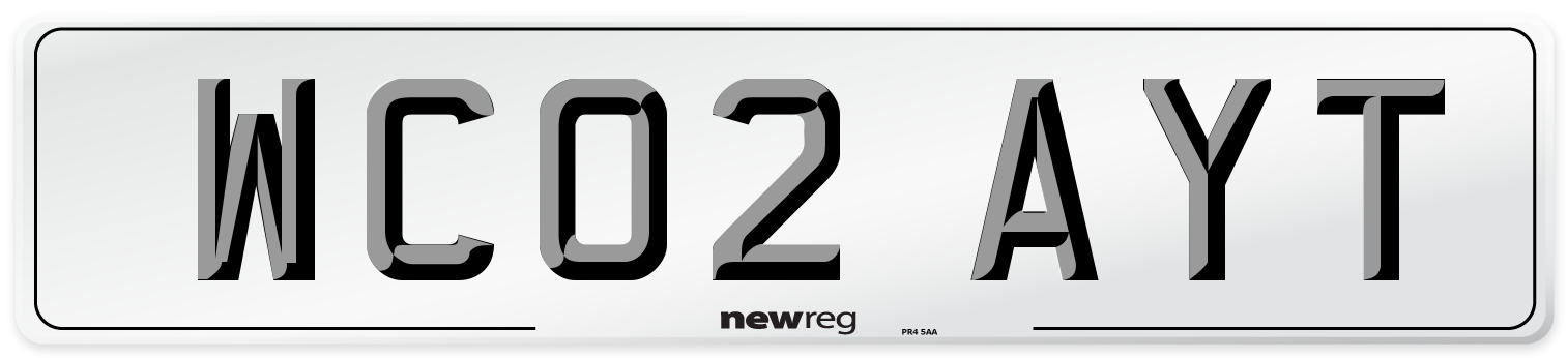WC02 AYT Number Plate from New Reg