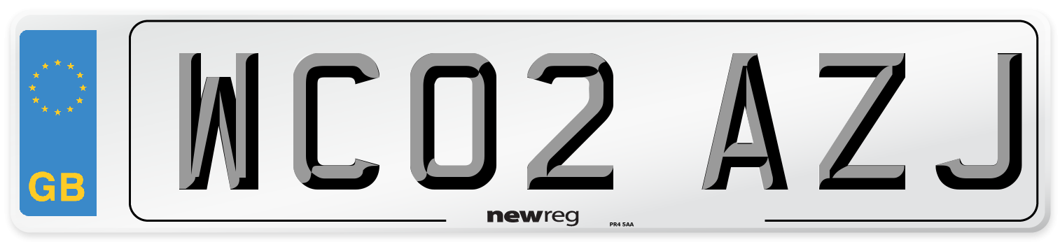 WC02 AZJ Number Plate from New Reg