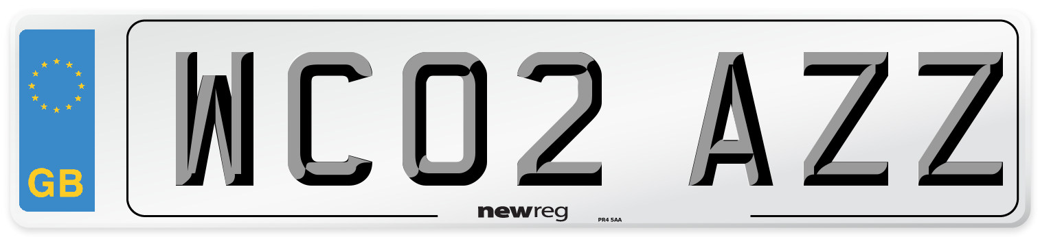 WC02 AZZ Number Plate from New Reg