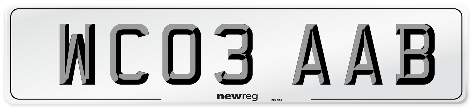 WC03 AAB Number Plate from New Reg