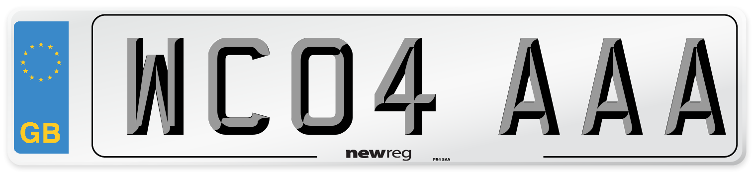 WC04 AAA Number Plate from New Reg