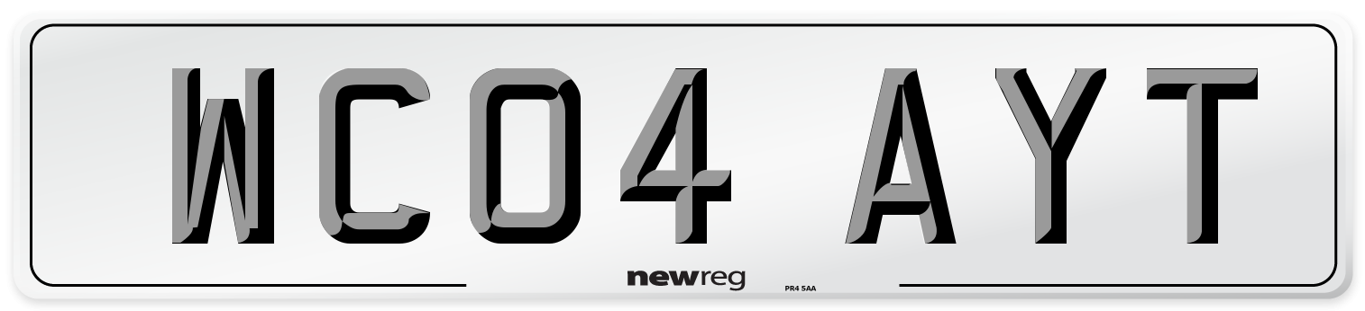 WC04 AYT Number Plate from New Reg