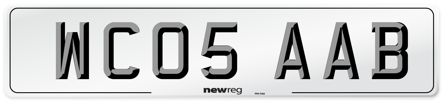 WC05 AAB Number Plate from New Reg