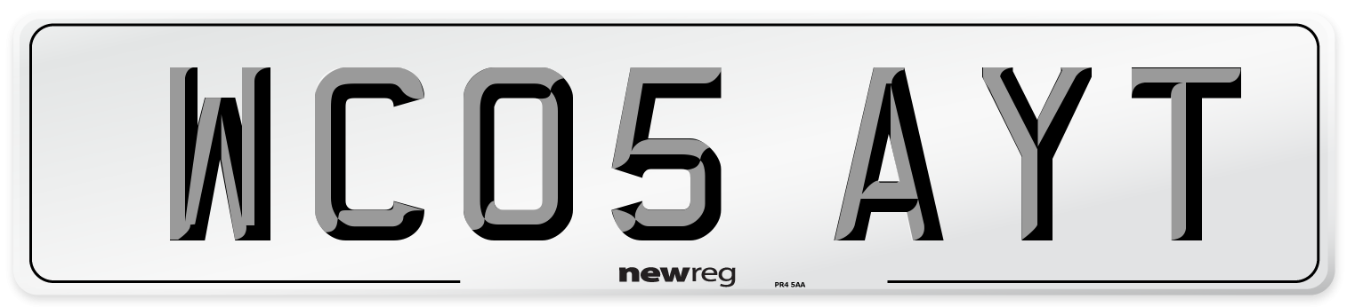 WC05 AYT Number Plate from New Reg