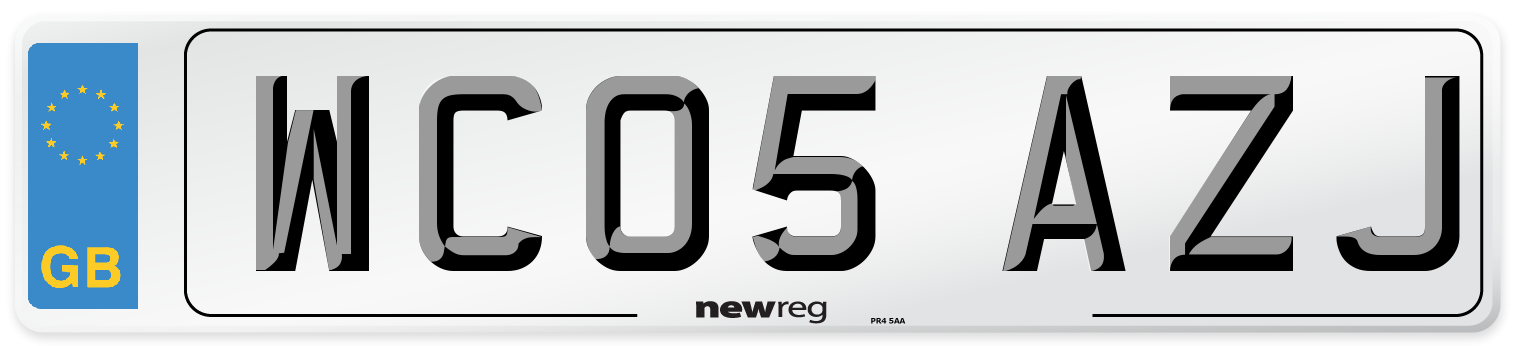 WC05 AZJ Number Plate from New Reg