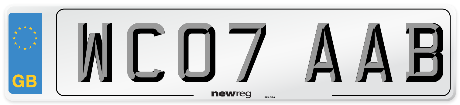 WC07 AAB Number Plate from New Reg