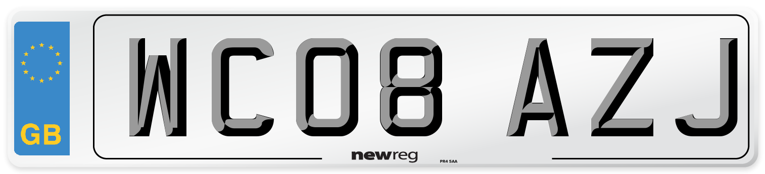 WC08 AZJ Number Plate from New Reg