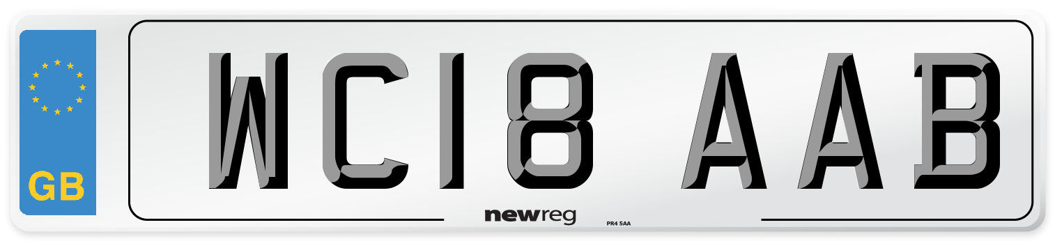 WC18 AAB Number Plate from New Reg