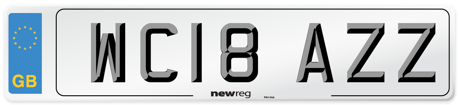 WC18 AZZ Number Plate from New Reg