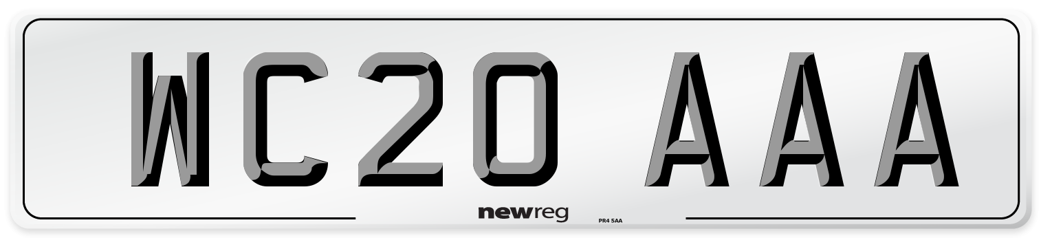 WC20 AAA Number Plate from New Reg