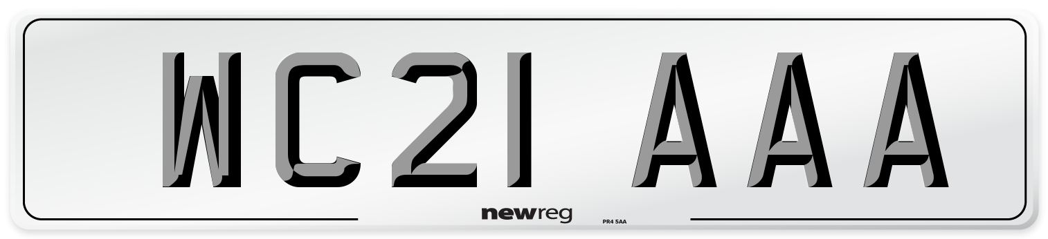 WC21 AAA Number Plate from New Reg