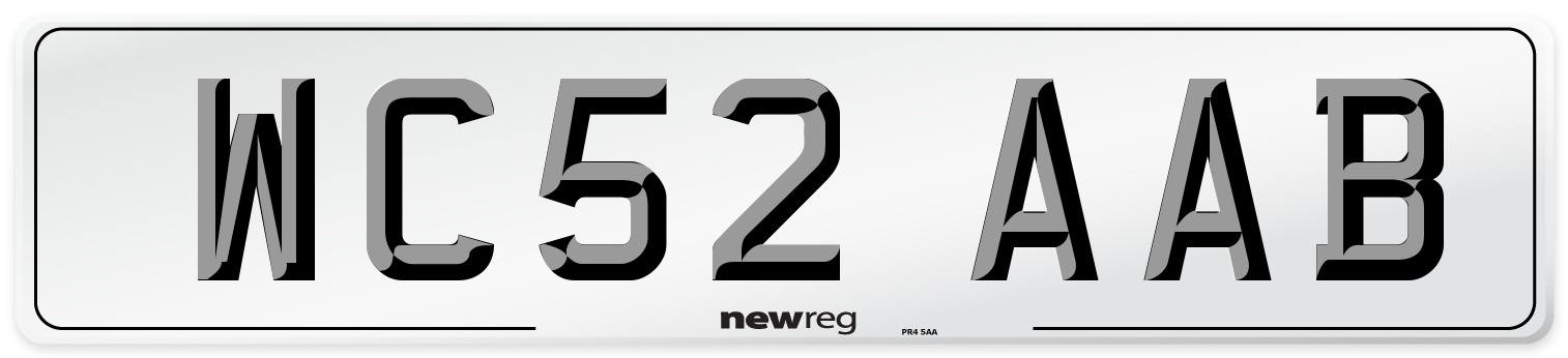 WC52 AAB Number Plate from New Reg