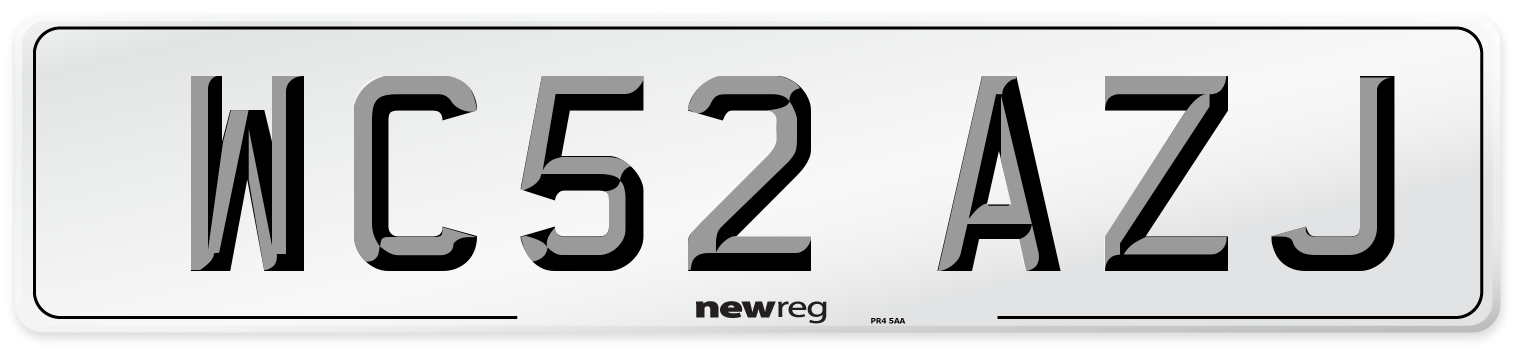 WC52 AZJ Number Plate from New Reg