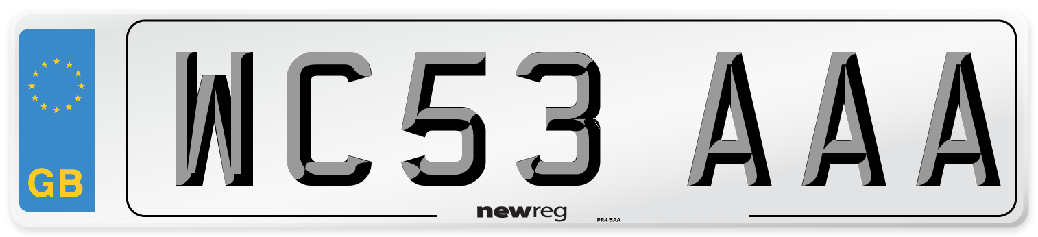 WC53 AAA Number Plate from New Reg