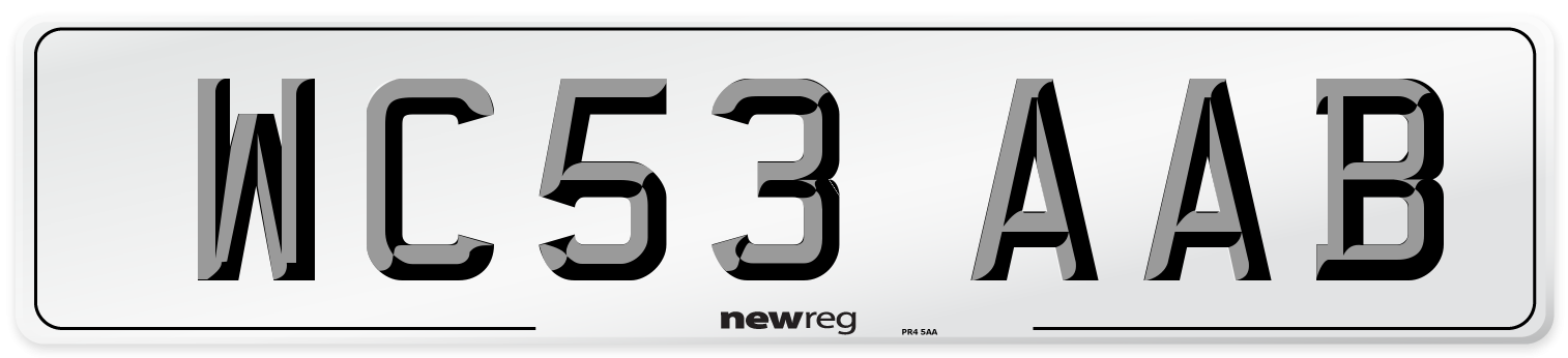WC53 AAB Number Plate from New Reg