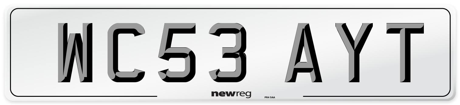 WC53 AYT Number Plate from New Reg