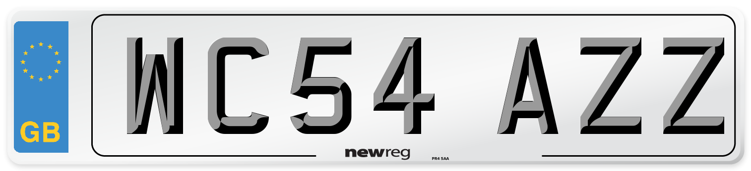 WC54 AZZ Number Plate from New Reg