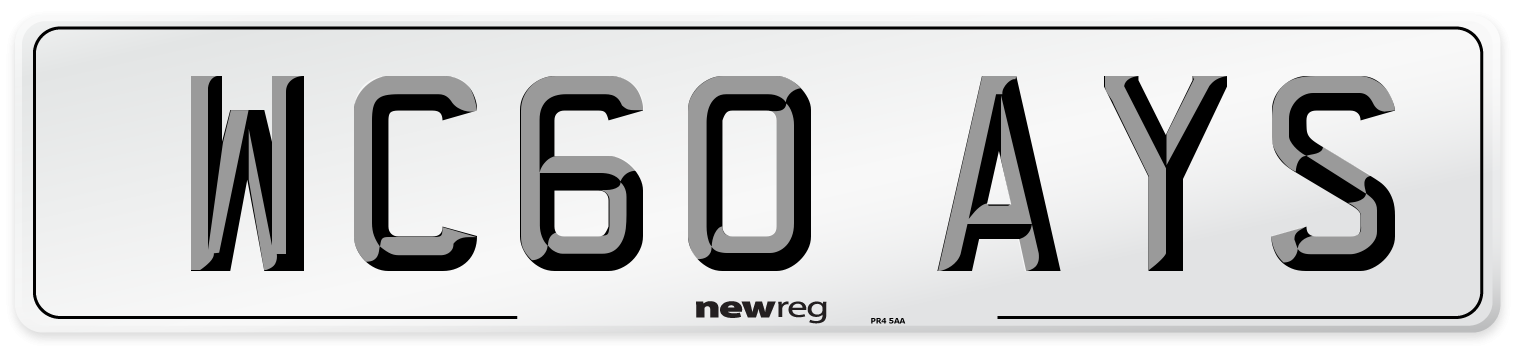 WC60 AYS Number Plate from New Reg