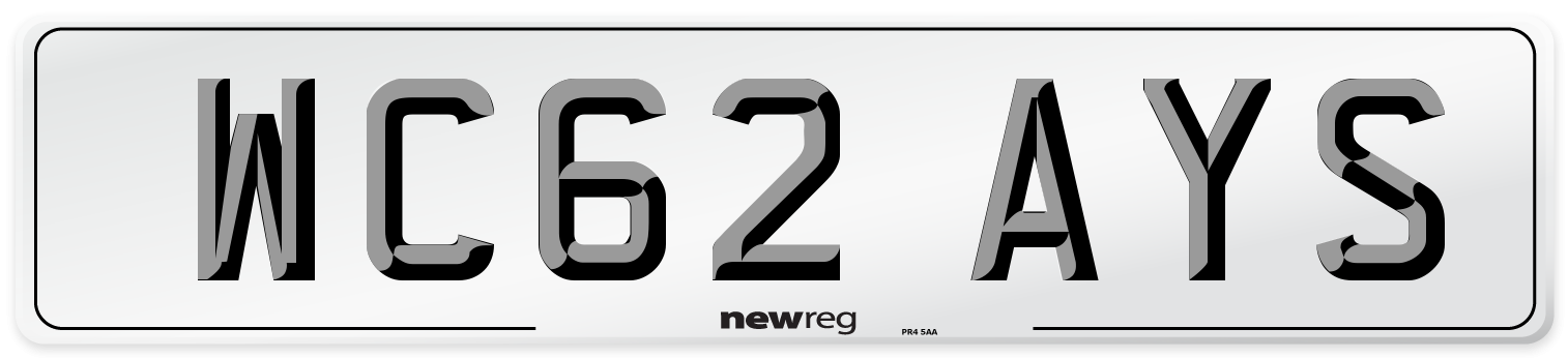 WC62 AYS Number Plate from New Reg