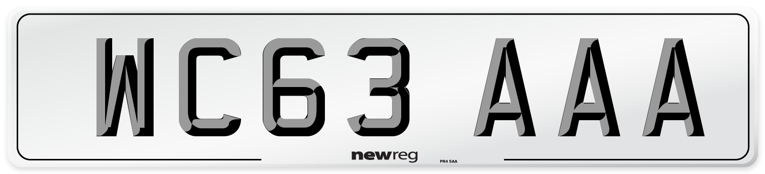 WC63 AAA Number Plate from New Reg