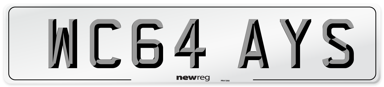 WC64 AYS Number Plate from New Reg