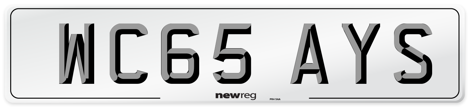 WC65 AYS Number Plate from New Reg