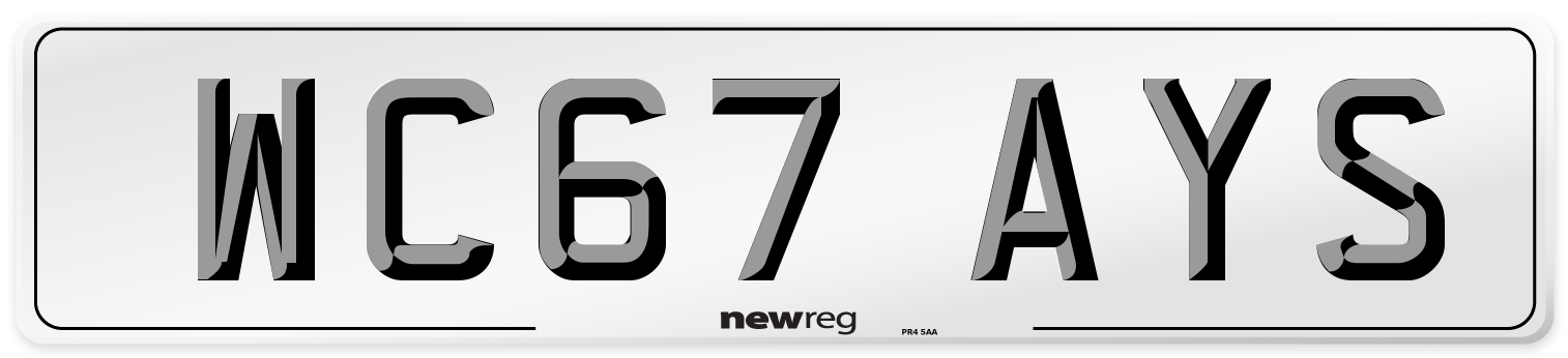 WC67 AYS Number Plate from New Reg