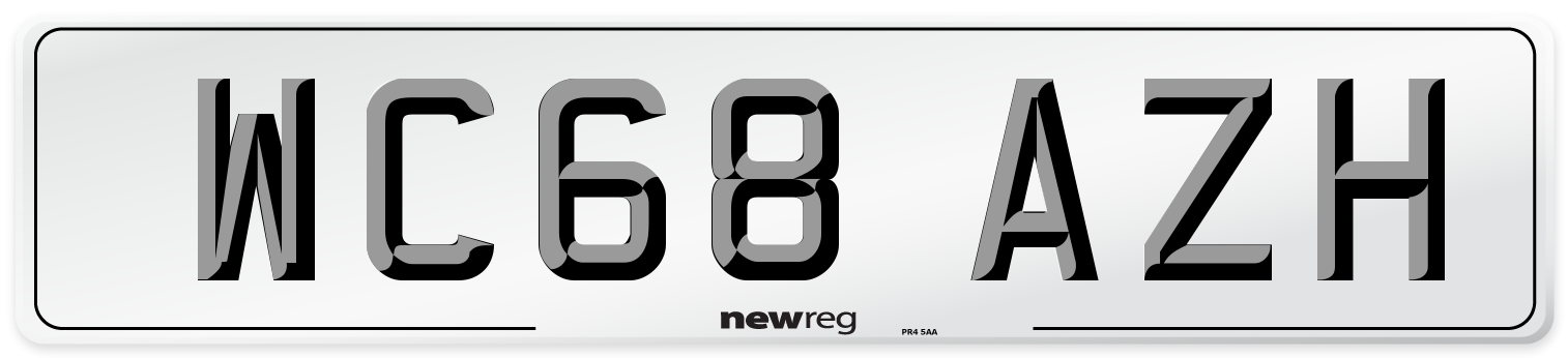 WC68 AZH Number Plate from New Reg