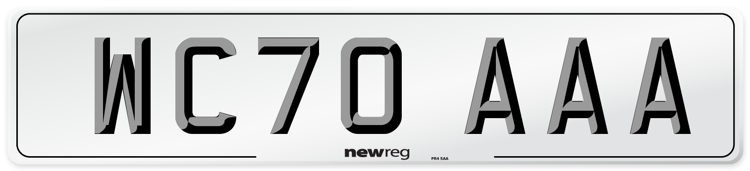 WC70 AAA Number Plate from New Reg