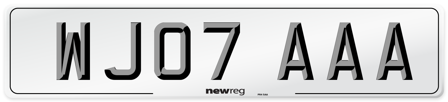 WJ07 AAA Number Plate from New Reg