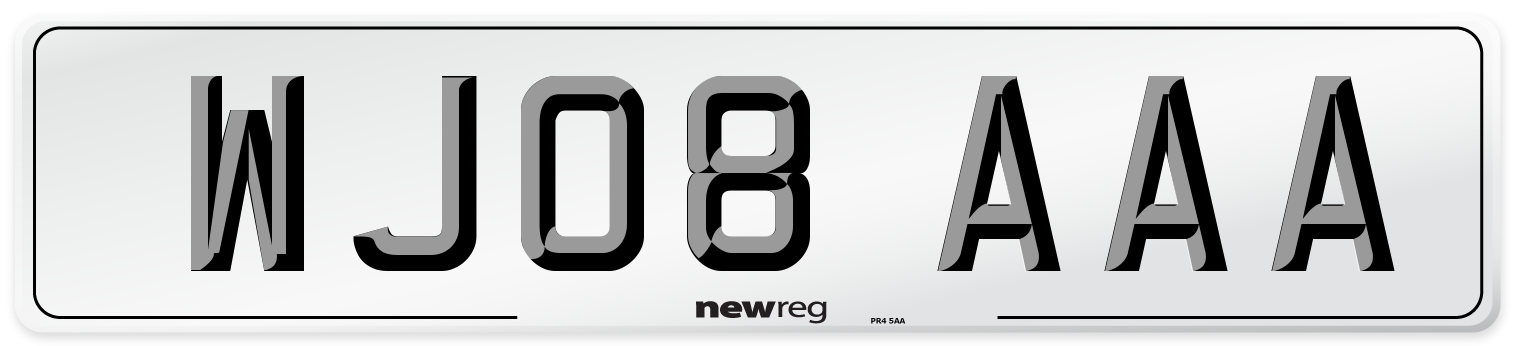 WJ08 AAA Number Plate from New Reg