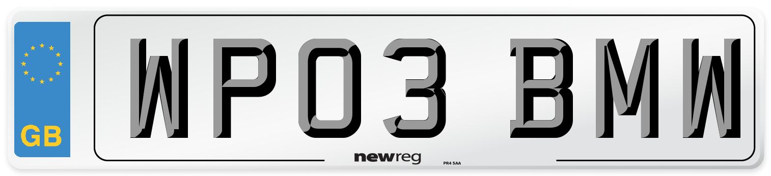 WP03 BMW Number Plate from New Reg