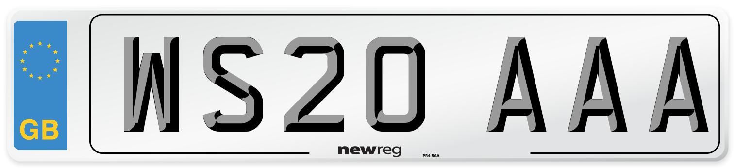 WS20 AAA Number Plate from New Reg