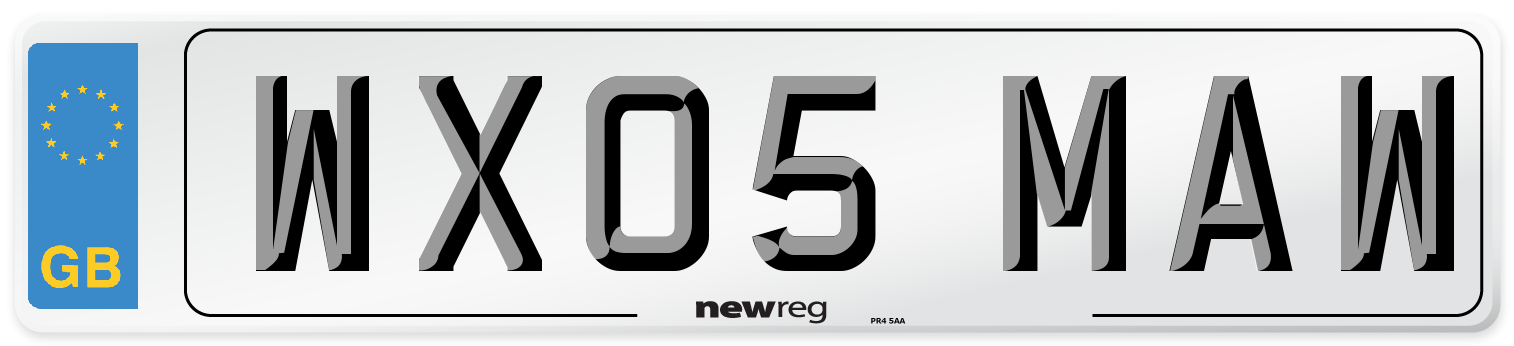WX05 MAW Number Plate from New Reg