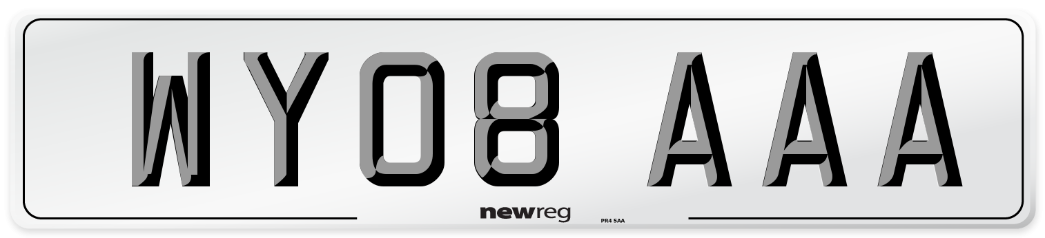 WY08 AAA Number Plate from New Reg