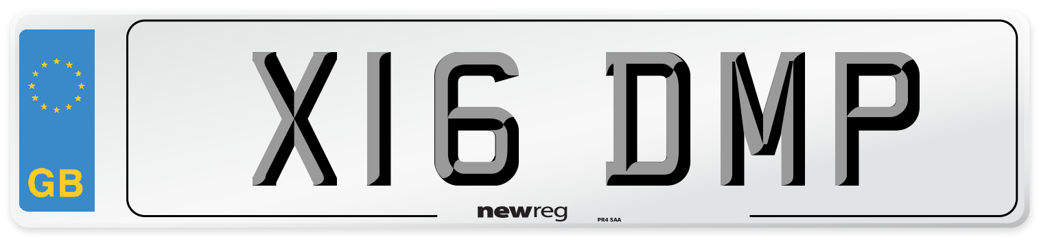 X16 DMP Number Plate from New Reg