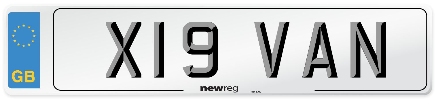 X19 VAN Number Plate from New Reg
