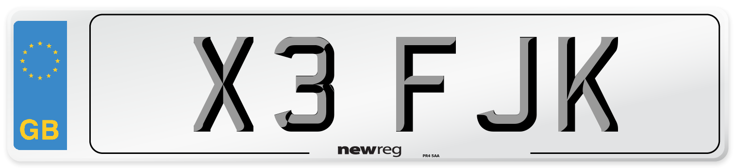 X3 FJK Number Plate from New Reg