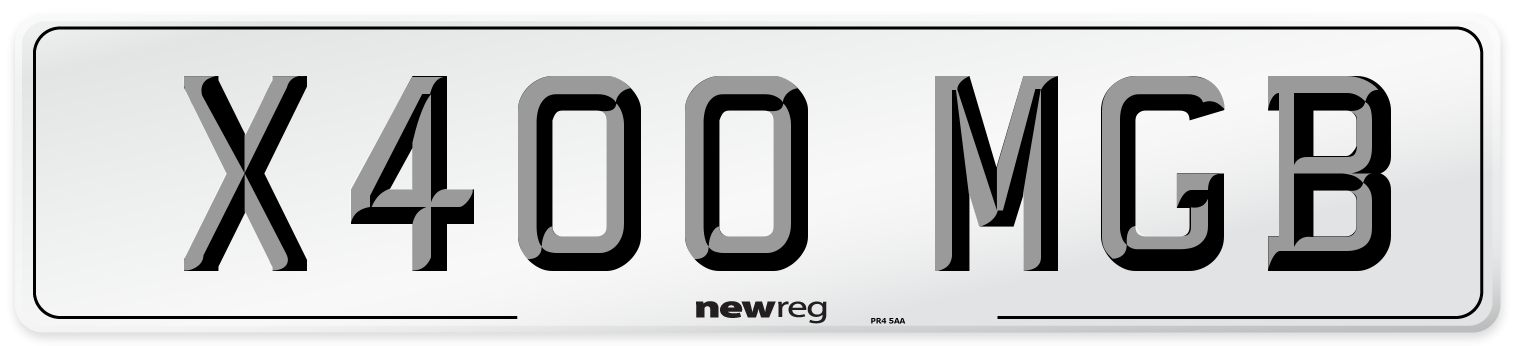 X400 MGB Number Plate from New Reg