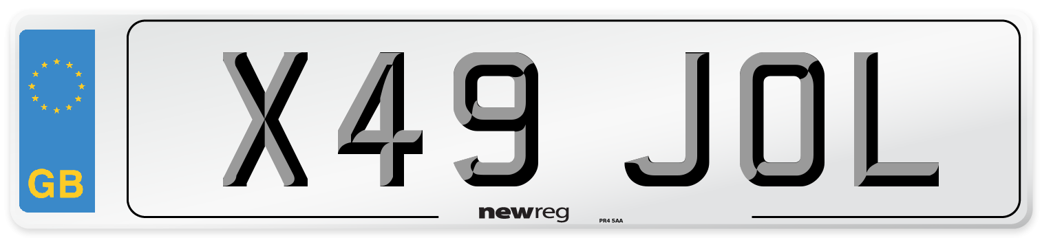 X49 JOL Number Plate from New Reg