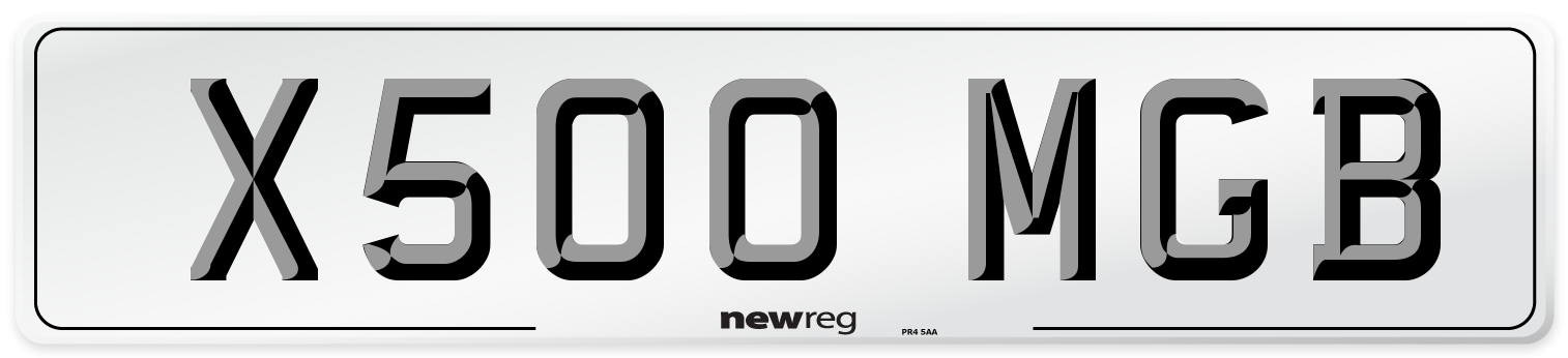 X500 MGB Number Plate from New Reg