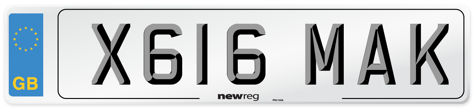 X616 MAK Number Plate from New Reg