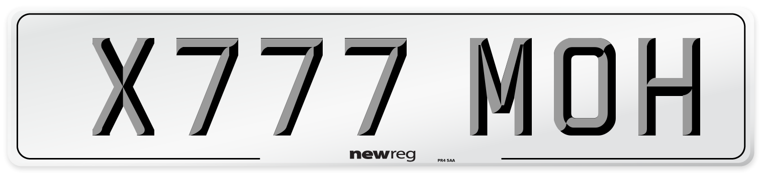 X777 MOH Number Plate from New Reg