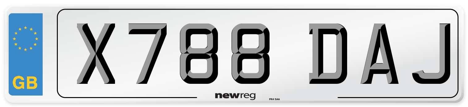 X788 DAJ Number Plate from New Reg