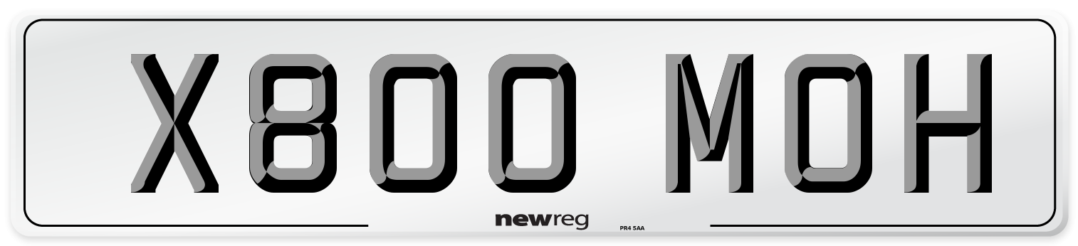 X800 MOH Number Plate from New Reg